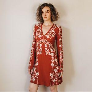 Modern Long-sleeve Embroidered Mini Dress